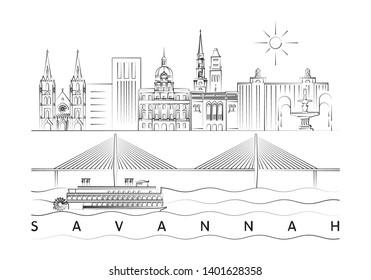 Savannah, Georgia skyline minimal vector illustration and typography design