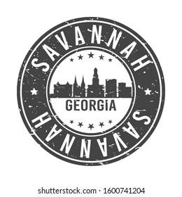 Savannah Georgia Skyline. Round Postmark Icon City Design. Vector Landmark Travel.