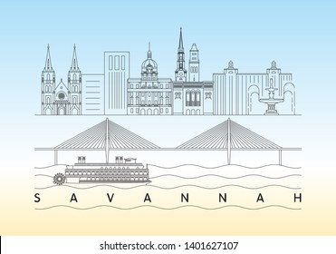 Savannah, Georgia skyline vector illustration and typography design