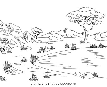 Savannah graphic black white lake landscape sketch illustration vector