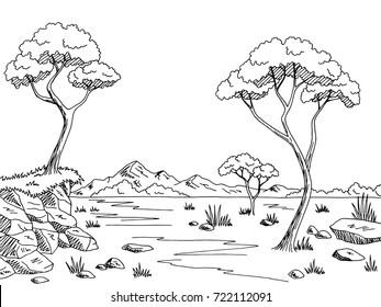 Savannah graphic black white landscape sketch illustration vector