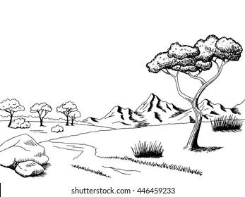 Savannah pathway graphic art black white landscape sketch illustration vector
