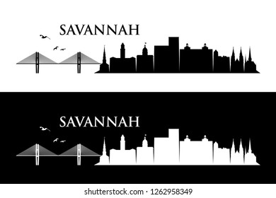 Savannah skyline - Georgia, United States of America, USA - vector illustration