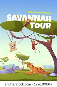 Savannah tour cartoon poster, invitation in national park with wild animals. Tiger and monkey jungle inhabitants in zoo or safari outdoor area. Beasts life in fauna vector flyer with ticket price - Shutterstock ID 1920100049