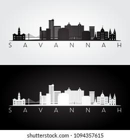 Savannah USA skyline and landmarks silhouette, black and white design, vector illustration.