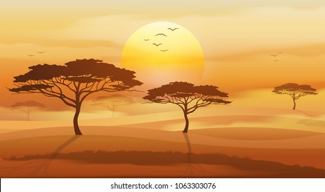 Savannah vector landscape, african tree silhouette in the sunset.