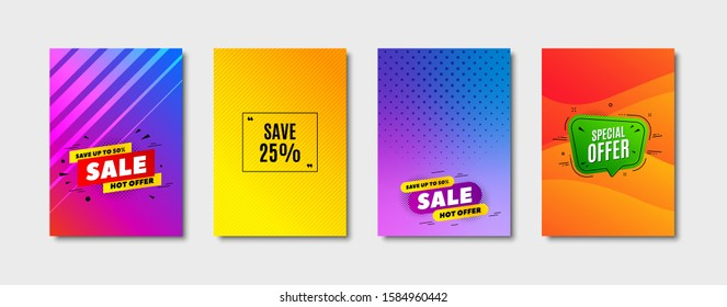 Save 25% off. Cover design, banner badge. Sale Discount offer price sign. Special offer symbol. Poster template. Sale, hot offer discount. Flyer or cover background. Coupon, banner design. Vector