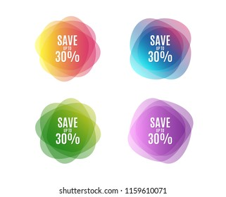 Save up to 30%. Discount Sale offer price sign. Special offer symbol. Colorful round banners. Overlay colors shapes. Abstract design concept. Vector