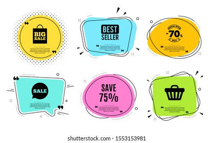 Save 75% off. Best seller, quote text. Sale Discount offer price sign. Special offer symbol. Quotation bubble. Banner badge, texting quote boxes. Discount text. Coupon offer. Vector