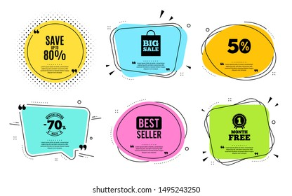 Save up to 80%. Best seller, quote text. Discount Sale offer price sign. Special offer symbol. Quotation bubble. Banner badge, texting quote boxes. Discount text. Coupon offer. Vector