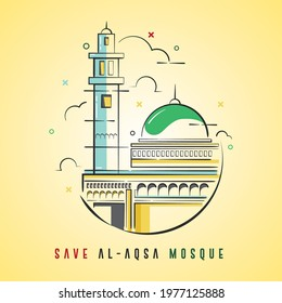 Save Al-Aqsa Mosque Background Vector Illustration