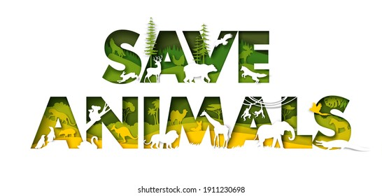 Save animals typography banner template. Vector illustration in paper art style. Flora and fauna of Europe, Asia, Australia, Africa, South America world continents. Wild animals silhouettes.