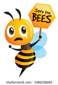 Save the Bees. Cartoon cute bee crying with  honeycomb signboard - vector mascot character