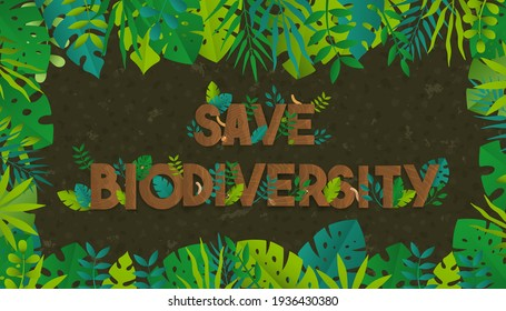 Save biodiversity text quote sign made of tree wood and diverse green plant leaves. Nature care concept, wild life conservation design in flat cartoon style.