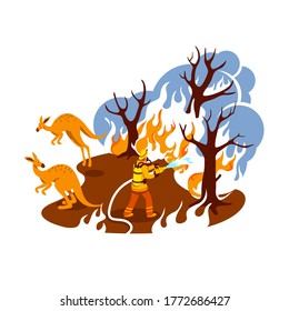 Save burning forest 2D vector web banner, poster. Fire in jungle. Firefighter in Australian woods flat characters on cartoon background. Wildfire printable patch, colorful web element