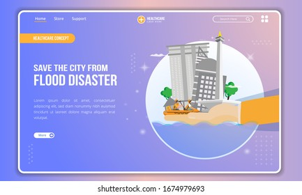 Save the city from flood disaster illustration on landing page, Save the city of Jakarta from flooding