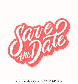 Save the date banner. Vector lettering.