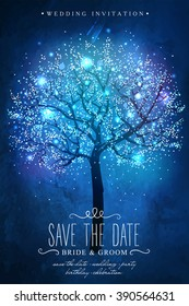 Save the Date. Beautiful magic tree. Inspiration card for wedding celebration, date, birthday or garden party. Wedding invitation