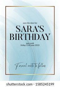 Save the date birthday party design, liquid flow in blue color with gold glitter sparkle and gold frame, holiday invitation. Ternder design for wedding, greeting, poster, web, blog, article in vector.