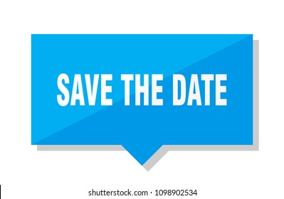 save the date blue square price tag