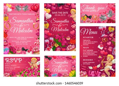 Save the date, bride and groom names calligraphy, menu template and thank you or rsvp wedding card. Vector marriage and love, cupids and engagement rings. Wine and desserts, flower bouquets and birds