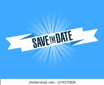 Save the date bright ribbon message  isolated over a blue background