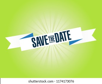 Save the date bright ribbon message  isolated over a green background