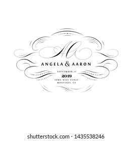Save the Date Calligraphic Design with A and A Initials