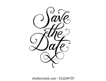 Save the Date Calligraphic Lettering