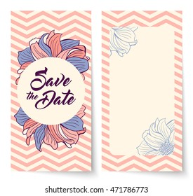 Save the Date card with background chevron pattern and flowers. Round frame for text. Save the Date lettering. Wedding invitation, vector illustration. Lavender and coral colors.