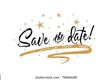 Save the date card. Beautiful greeting banner poster calligraphy inscription black text word gold ribbon. Hand drawn design elements. Handwritten modern brush lettering white background isolated