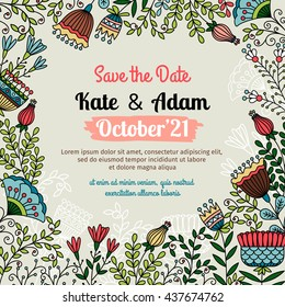 Save the date card. Floral doodle template with flowers and herbs for wedding invitation. Vector illustration