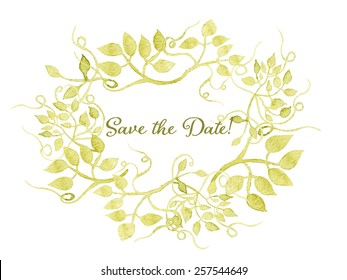 Save the date card. Floral wreath watercolor hand drawn. Spring or summer design for invitation, wedding or greeting cards. Eps10