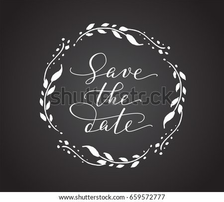 save date card floral wreath chalk stock vector royalty free