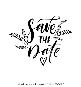 Save the date card. Hand drawn wedding lettering. Botanical elements.  Ink illustration. Modern brush calligraphy. Isolated on white background.