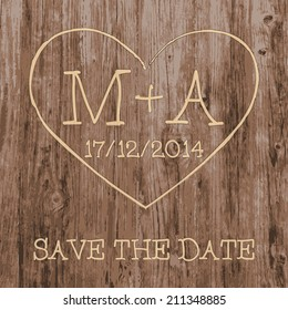 Save the Date card.  Love heart and initials graffiti carved into tree wood. Vector illustration.
