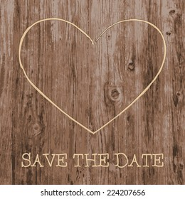 Save the Date card. Love heart and text graffiti carved into tree wood. Vector illustration.