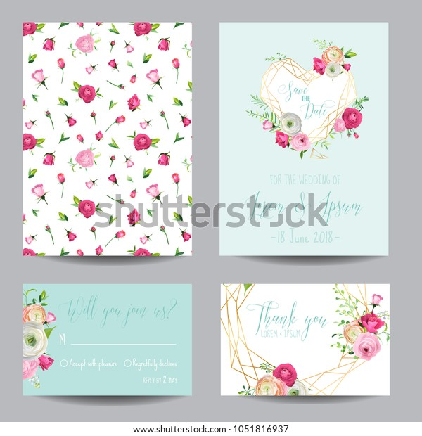 Save Date Card Set Blossom Pink Stock Vector Royalty Free 1051816937