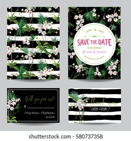 Save the Date Card Set. Tropical Orchid Flowers and Leaves Wedding Invitation. Vector