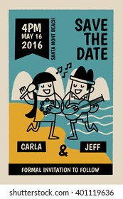 save the date card for summer wedding party on the beach