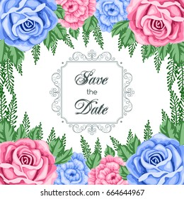 save the date card template with flowers vector illustration in