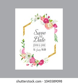 Save the Date Card Template with Gold Glitter Frame and Pink Flowers. Wedding Invitation, Greeting with Floral Ornament. Vector illustration