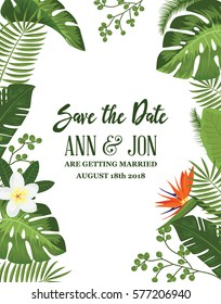 Save the Date Card with Tropical Exotic Leafs and Flowers. Wedding Invitation Design with Jungle Plants