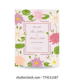 Save the date card with water lily flowers, leaves and buds. Vintage vector illustration
