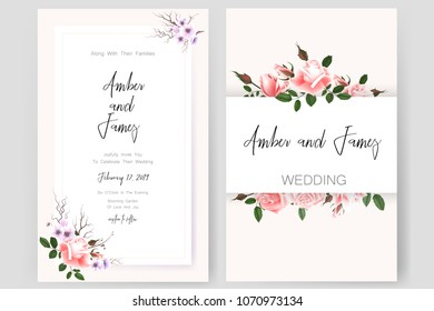 Save the date card, wedding invitation, greeting card with beautiful roses flowers. Set of card with flower, leaves and geometrical frame. Vector EPS10