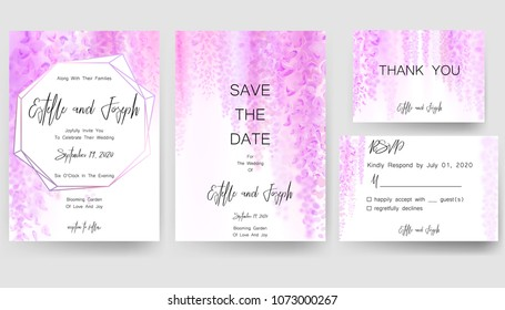 Save the date card, wedding invitation, greeting card with beautiful wisteria flowers. Vector EPS10