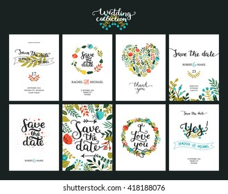 Save the date cards, wedding invitation with hand drawn lettering, flowers and branches.