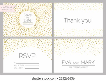 Save the date collection. Wedding invitation set with gold confetti