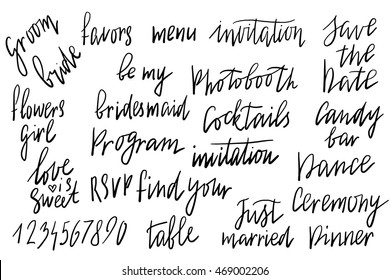 Save the date, dance, ceremony, photobooth, bridesmade, flowers girl, RSVP, table number, dinner, candy bar, program. Wedding invitation with hand drawn lettering, flowers in simple style, Isolated