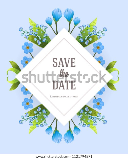 Save the date design template with blue primula flowers. Handwritten text, calligraphy. Celebration concept. Can be used for invitation, flyer, brochure